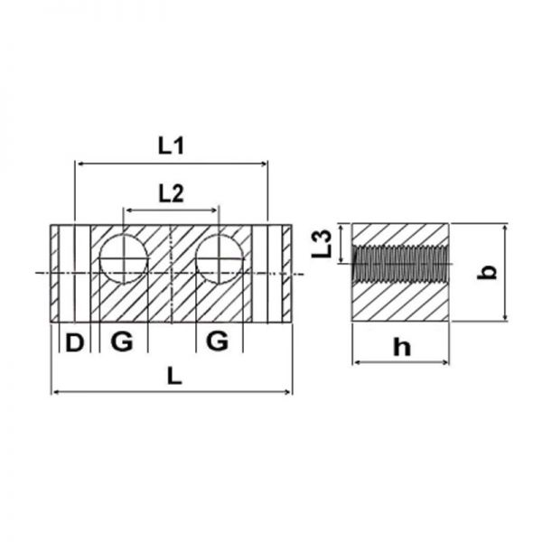 Nippelblöcke Stahl - 2 Durchgangsbohrungen