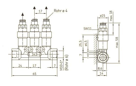 Maßblatt Einleitungsverteiler Steckanschluss