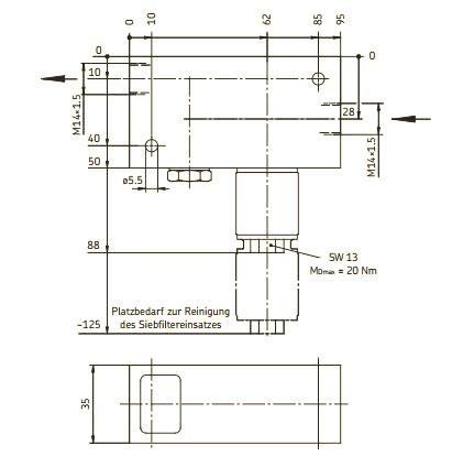 Maßbild Filter 213-890 und 213-920