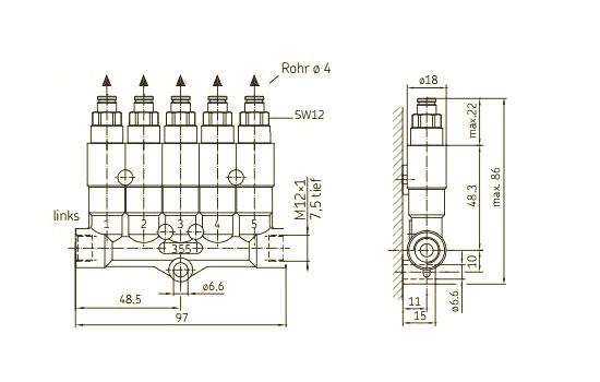 Maßzeichnung SKF Verteiler 355 - Steck