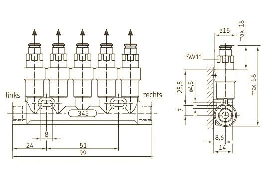 SKF Einleitungsverteiler 345 VS Maße