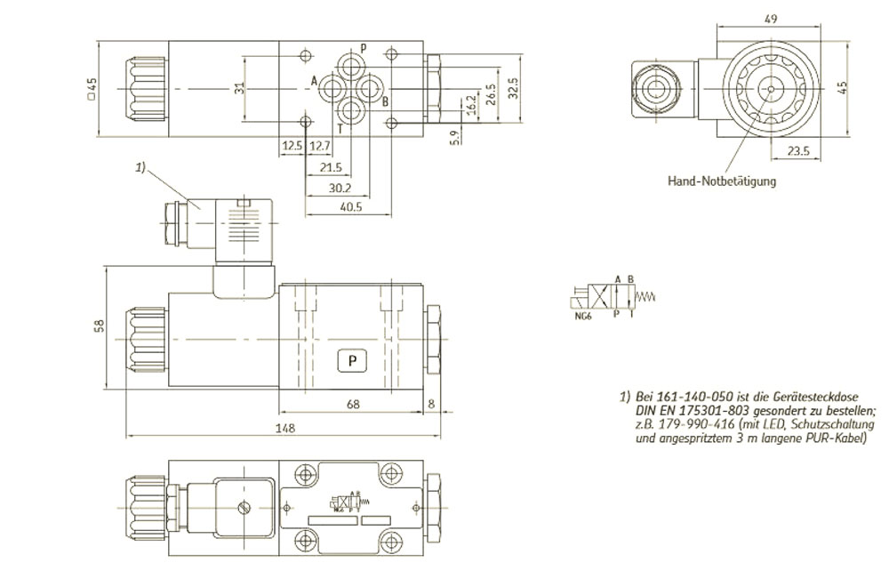 161-140-050 Zeichung und Anschlussplan