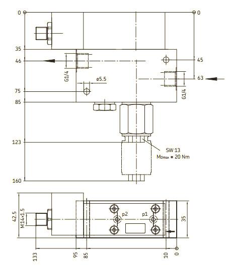 Maßbild Leitungsfilter 213-910