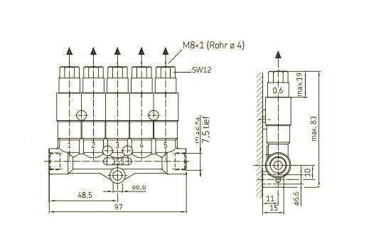Maßzeichnung SKF Einleitungsverteiler 355