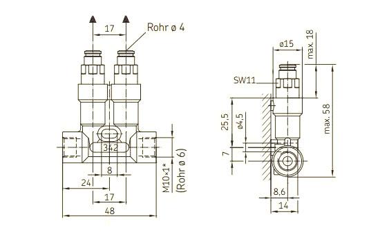 Kolbenverteiler Steckanschluss SKF