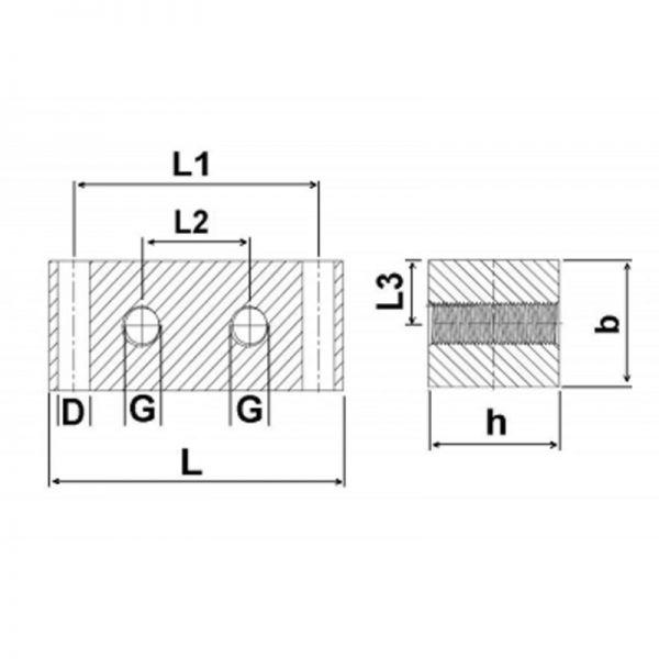 Nippelblöcke Edelstahl - 2 Durchgangsbohrungen