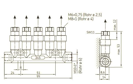 Kolbenverteiler Schraubverbindung Maßblatt