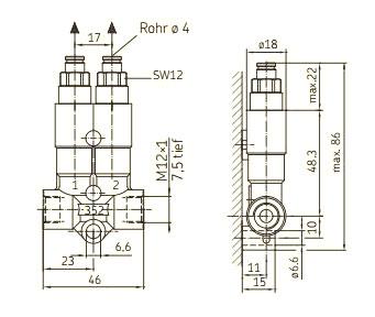 Zeichnug SKF Vorschmierverteiler 352