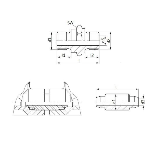 SKF Doppelnippel / Gewindestück